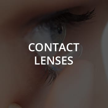 Contact Lenses text over image of woman putting in contact lens - Unionville Optometry